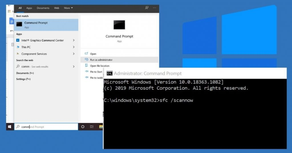Repair the corrupted system file via command prompt