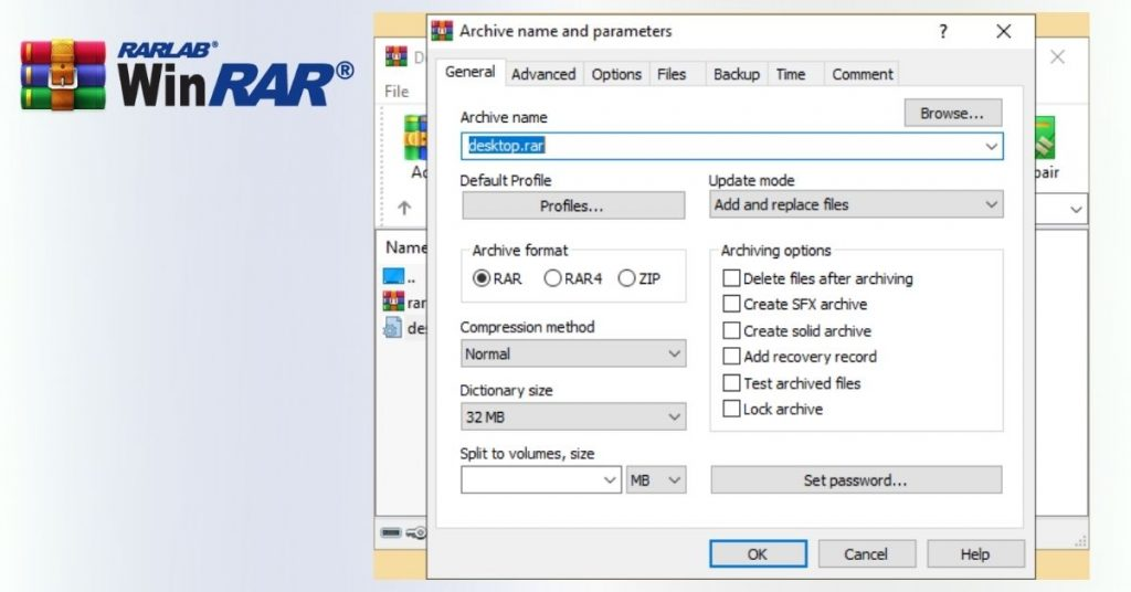 WinRAR Creating Archive with profile