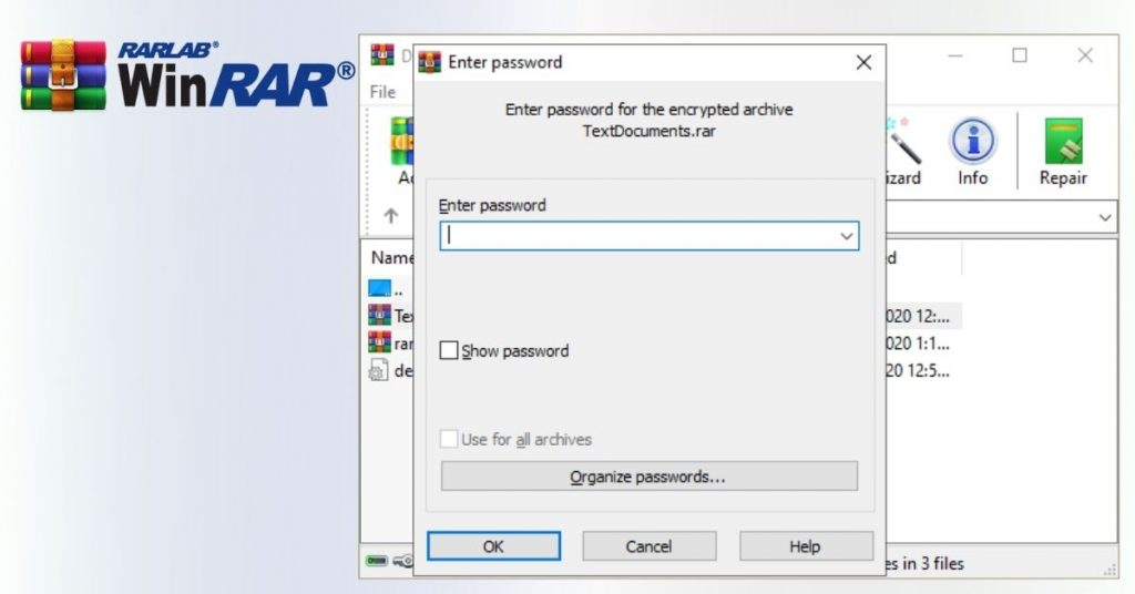 WinRAR Password protect